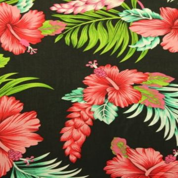 Viscose - Tropical Flowers on Black