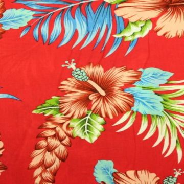 Hawaii Flowers on Red