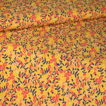 Katoenen Tricot - Lovely Flowers on Soft Ocher