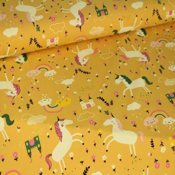 Katoenen Tricot - Unicorn on Soft Ocher