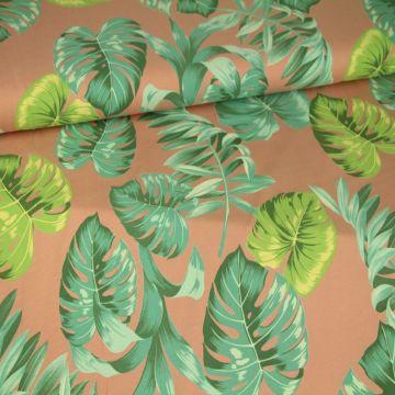 Katoenen Tricot - Jungle Leaves on Vintage Pink