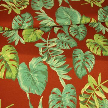 Katoenen Tricot - Jungle Leaves on Rusty