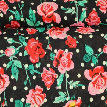 Cotton Viscose - Dots and Roses on Navy
