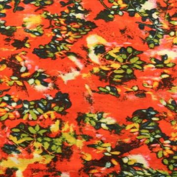 Cotton Viscose - Twigs on Red