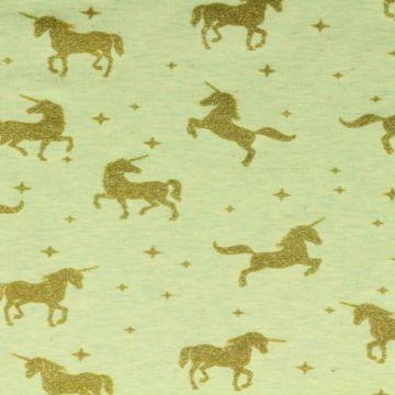 katoenen tricot in het gemêleerd mint met eenhoorns