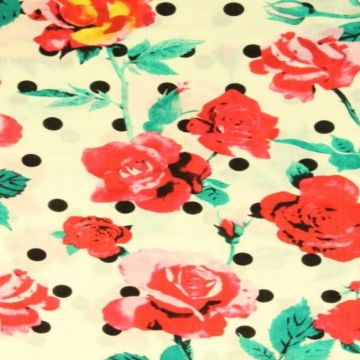 Cotton Viscose - Dots and Roses on Offwhite