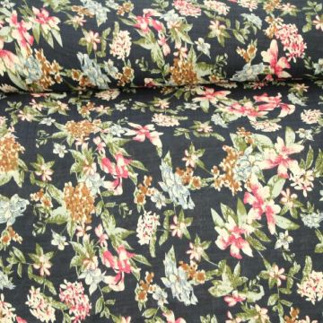 Cotton Viscose - Flowergarden on Navy