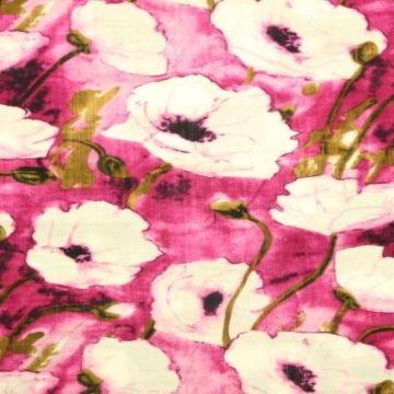 Cotton Viscose - White Poppy