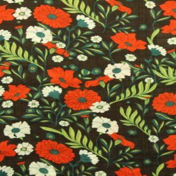 Cotton Viscose - Retro Flowers on Dark Brown