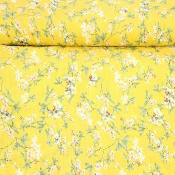 Cotton Viscose - Blossom on Yellow