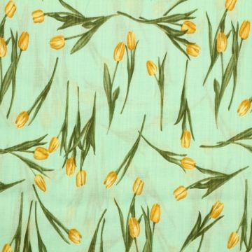 Cotton Viscose - Tulip on Aqua
