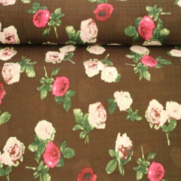 Cotton Viscose - Blurry Roses on Brown