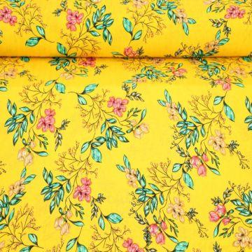 Cotton Viscose - Sunny Summer Flowers on Yellow