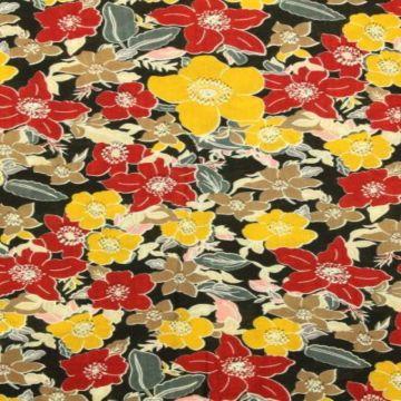 Cotton Viscose - Vintage Summer Flowers on Black