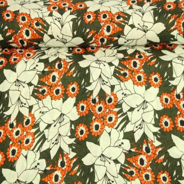 Cotton Viscose - Retro Flower Field on Army Green
