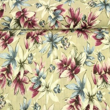 Cotton Viscose - Chic Flowers on Clay