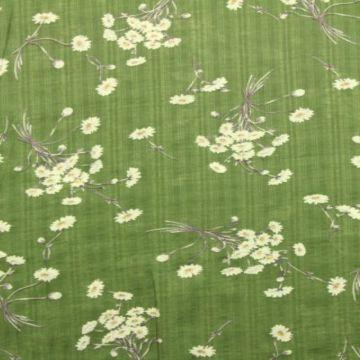 Cotton Viscose - Field Bouquet on Moss Green