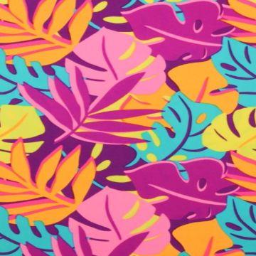 Lycra print met bladeren