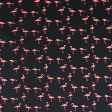 Lycra - flock of flamingo's - paneel 80cm