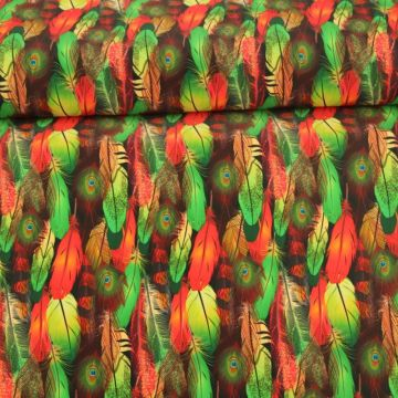 Lycra - Peacock feathers - Oranje