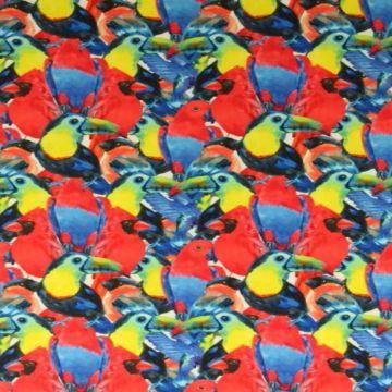 Lycra - Tropical Birds Red