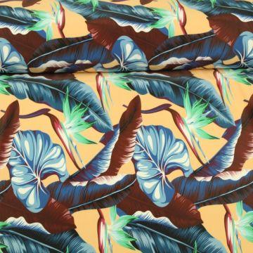 Lycra - Tropical Plants Blue