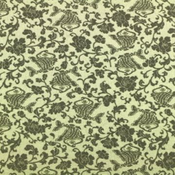 Stretch Jacquard stof in groen met grijze print