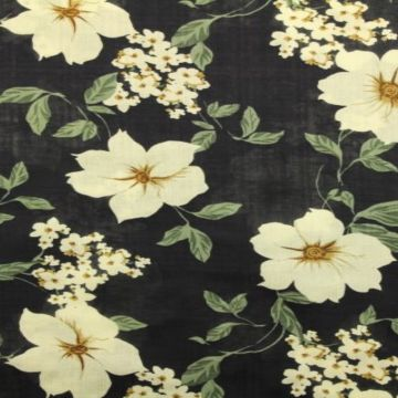 Cotton Viscose - Open Flowers by Night