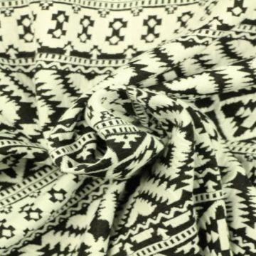 Jacquard Jersey - Black/White Winter Stripes