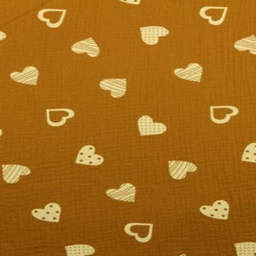 Hydrofiel Stof - Lovely Hearts Dark Ocher