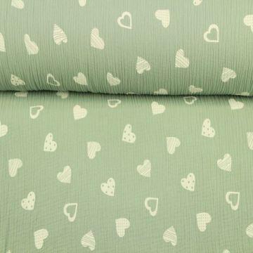Hydrofiel Stof - Lovely Hearts Vintage Groen