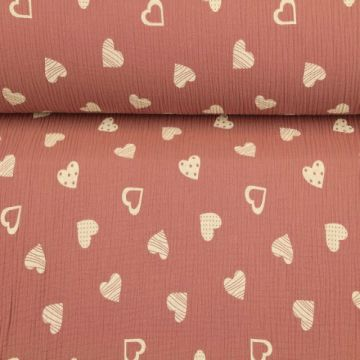 Hydrofiel Stof - Lovely Hearts Vintage Pink