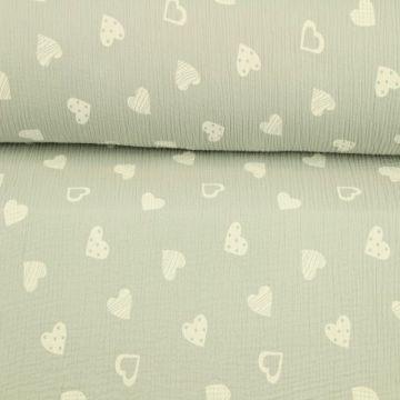 Hydrofiel Stof - Lovely Hearts Light Grey