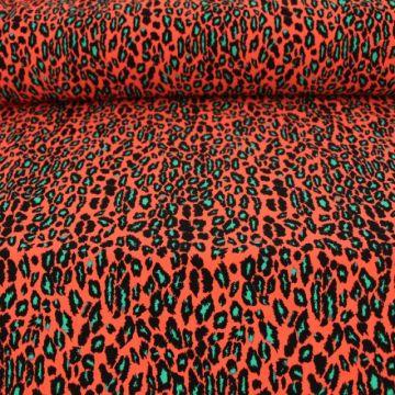 Lycra - Leopard neon green/coral