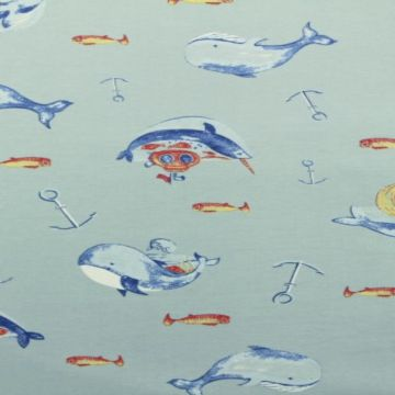 Walvissen in de zee katoenen tricot