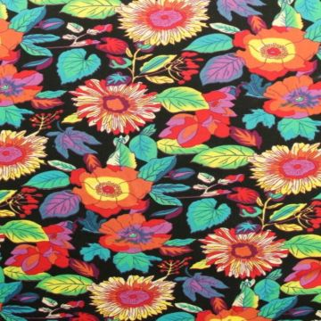Vintage Boho Flowers on Black