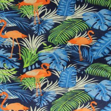 Flamingo on Dark Blue