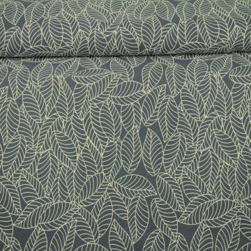 Katoenen Tricot - Autumn Leaves Blue/Grey