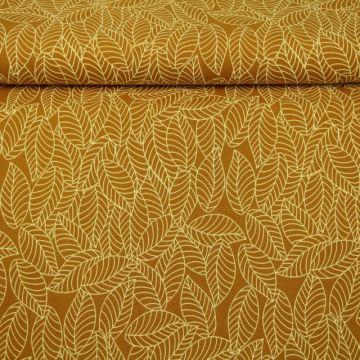 Katoenen Tricot - Autumn Leaves Dark Ocher