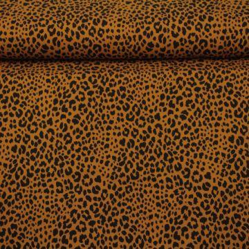 Katoenen Tricot - Cheetah Spots Dark Ocher