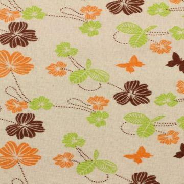 Katoenen Canvas - vlinders en bloemen
