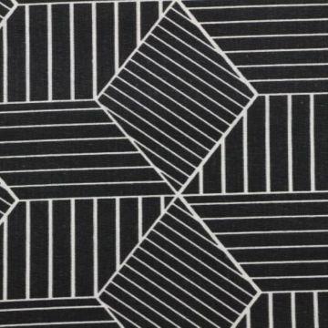Katoenen Canvas - strepen in ruit zwart/beige
