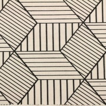 Katoenen Canvas - strepen in ruit beige/zwart