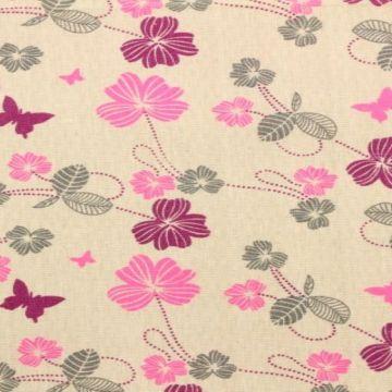 Katoenen Canvas - bloemetjes en vlinders