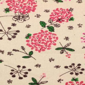 Katoenen Canvas - bloemen in roze en groen