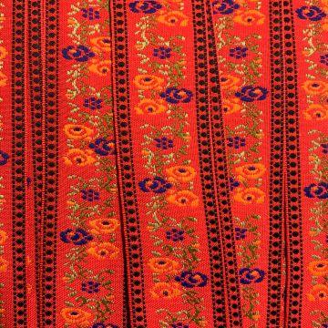 Geweven Sierband - Flowers on Red