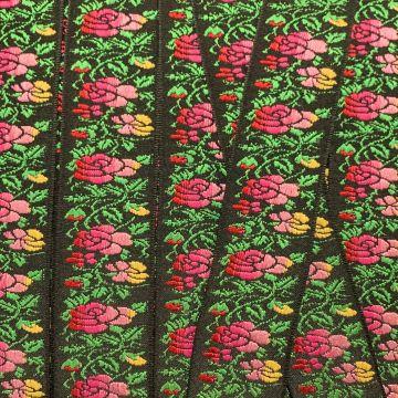 Geweven Sierband - Black/Pink/Green