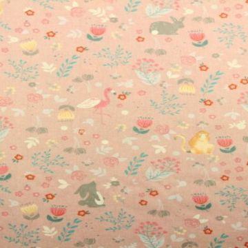 dieren roze katoenen print