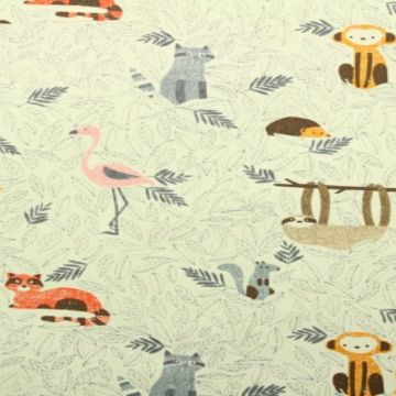 dieren met bladeren katoenen print