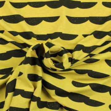 katoenen tricot geel met stenen